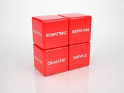 Red Customer Service Cubes Language German