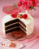Layered Chocolate Cake with Roses
