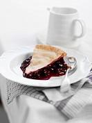 A slice of blueberry pie