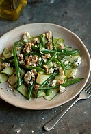 Cucumber and bean salad with blue cheese and walnuts