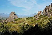 GREECE, KASTRAKI, Sandstone rock pillars in Meteora with the Holy Monastery of St Nicholas Anapausas on the right, Kastraki, Greece, Europe - Kastraki...
