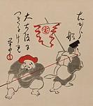 Japanese print of Ebisu & Daikoku hauling Takarabune into Osaka.