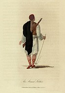 An Arnaut Soldier, viewed from the rear, with a musket slung over his shoulder. He carries a tobacco pipe with a very long stem in his right hand. Arn...