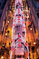 Christmas Lights in the Rua Augusta, Lisbon, Portugal, Europe.