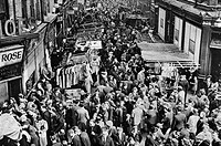 A view of Middlesex Street on a Sunday morning, the main thoroughfare of the Petticoat Lane market, London