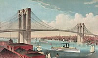 The great East River suspension bridge: connecting the cities of New York and Brooklyn, looking west. Date c1883.