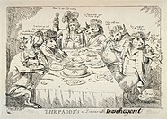 The paddy's at dinner with Puddinghead the Regent. Print shows George, Prince of Wales, seated at a table eating and drinking with several bulls, the ...