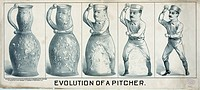 Evolution of a pitcher. Print shows a five panel illustration beginning with a ceramic pitcher on the left which evolves into a baseball pitcher. Date...