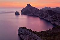 Formentor peninsula and Colomer isle at dawn. Pollensa area. Majorca, Balearic islands, Spain