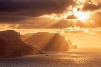Northwest coast of Majorca. Estellencs area and Dragonera island silhouette at sunset. Balearic islands, Spain