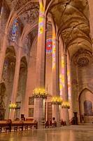 Interior of 13th century Gothic cathedral of Palma de Majorca. Majorca, Balearic islands, Spain.
