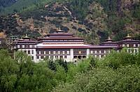 King´s Palace. Samteling Palace or Royal Cottage. Residence of the present King of Bhutan. Thimphu. Bhutan.