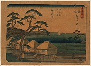 Kanagawa. Print shows travelers passing thatched roof buildings at the Kanagawa station on the Tokaido Road. Date between 1848 and 1854.