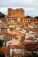 View of the village Todolella and its castle, Castellon province, Comunidad Valenciana, Spain
