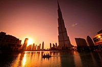 Burj Khalifa, Burj Dubai, the tallest building in the world in downtown Dubai at sunset