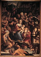 Adoration of the Magi, by Vasari Giorgio, 16th Century, panel. Italy, Emilia Romagna, Rimini, Santa Maria di Scolca church. All. Adoration of the Magi...