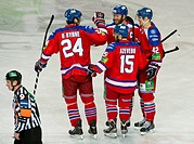 Players of Lev Praha celebrate a goal during the KLH match HC Lev Praha vs Amur Chabarovsk in Prague, Czech Republic, January 17, 2014. (CTK Photo/Vit...