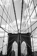 Suspension Cables and Tower, Low Angle View, Brooklyn Bridge, New York City, USA