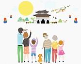 illustration of extended family in Chuseok