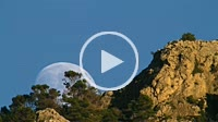 Timelapse of a large waxing gibbous moon rising over Puig des Teix mountain in the evening. Very long lens. Majorca, Balearic islands, Spain. Tramunta...
