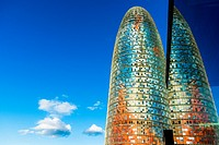 BARCELONA, SPAIN : Torre Agbar in the Poblenou neighborhood in Barcelona, Spain. Owned by the Agbar Group, it is a 38-story skyscraper / tower and a f...