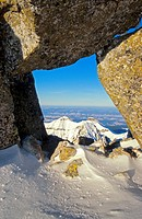 View of Belianske Tatry (peaks Havran and Zdiarska vidla) as seen from the peak Baranie rohy, High Tatras.