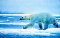 Large male polar bear running on ice floe, oil painting effect, digital art