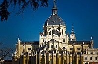 A view of the Almudena cathedral in Madrid, Spain.