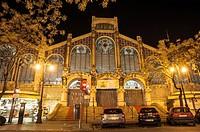 Central Market at night, Valencia, Spain.