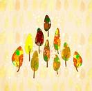 illustration design with autumn leaves