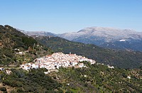 View of the town of Algatocin, Sierra Bermeja, Province of Malaga, Andalusia, Spain