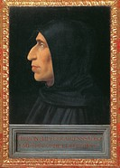 Portrait of Savonarola, by Bartolomeo della Porta known as Fra Bartolomeo, 1498 - 1500 about, 15th Century, panel, cm 46,5 x 32,5. Italy, Tuscany, Flo...