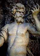 One of the statues in the Water Theatre, Villa Aldobrandini (17th century), Frascati, Lazio, Italy.