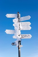 Snow-covered signpost, Feldberg, Black Forest, Baden-Württemberg, Germany