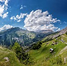 Col du Sanetsch, landscape, field, meadow, summer, mountains, hills, clouds, Conthey, Wallis, Valais, Switzerland, Europe,