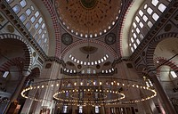 Interior of an islamic mosque; Istanbul, Turkey