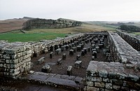 Ruins of Housesteads Roman Fort, Hadrian's Wall (Unesco World Heritage List, 1987), Northumberland, England, United Kingdom. Roman civilisation, 2nd c...