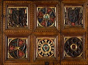 Coats of arms and carved rosettes, detail from spruce and walnut choir stall, possibly by Basio workshop, from Torrechiara Castle. Italy, 15th century...