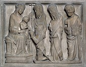 Sarcophagus Caimi, by Bonino da Campione (active 14th century), marble relief, Caimi Chapel, Basilica of Sant'Eustorgio, Milan, Lombardy. Italy, 14th ...