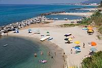 Beaches near La chiesetta di Piedigrotta, just outside Pizzo or Pizzo Calabro, Vibo Valentia, Calabria, Southern Italy, Italy.