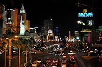 Las Vegas Boulevard, also called The Strip, New York New York and MGM Casino, at night, Las Vegas, Nevada, USA