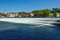 Lechwehr, weir on the Lech river, Landsberg am Lech, Upper Bavaria, Bavaria, Germany
