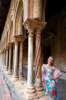 Woman in the Cloister of the Cathedral of Monreale, Palermo, Sicily, Italy
