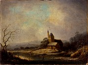 Winter Landscape, after Orazio Grevenbroek, 18th Century, oil on board, 31,5 x 23,5 cm . Italy, Lombardy, Milan, Castello Sforzesco, Civic Collections...