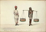 Country doctor with coolie carrying baskets of medicine on a yoke. Watercolour. Originally published in 1856.