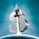 Illustrative image of communications tower and dollar sign representing growth.