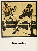 November two boxers in the ring image from a sporting calendar. Illustration by Rudyard Kinpling. One of an edition of twenty copies. Illustrated by W...