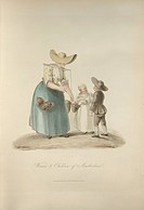 Woman and children of Amsterdam. The woman is sellling fruit. Image taken from The Costume of the Netherlands displayed in thirty coloured engravings ...