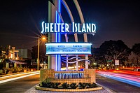 Shelter Island neon sign at night. San Diego, CA, USA. California, United States.