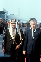 The President of the Socialist Federal Republic of Yugoslavia Lazar Kolisevski welcoming the Emir of Kuwait Jaber III Al-Ahmad Al-Jaber Al-Sabah who j...